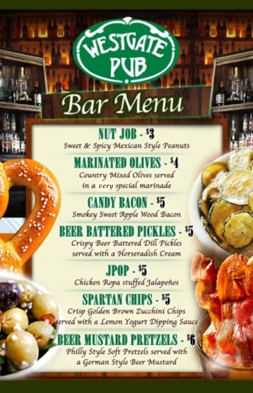 Westgate Pub Bar Menu